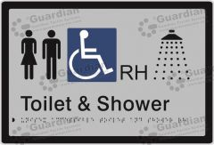 Unisex Accessible Toilet and Shower RH Silver