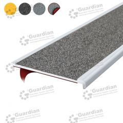 Stair Nosing Aluminium Recessed Medium Grey Carbide with D/S Tape