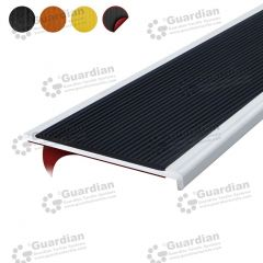 Stair Nosing Aluminium Recessed Black Polyurethane with D/S Tape