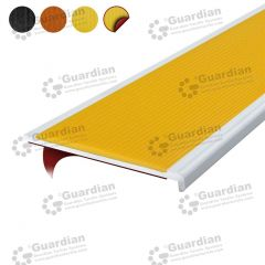 Stair Nosing Aluminium Recessed Yellow Polyurethane with D/S Tape
